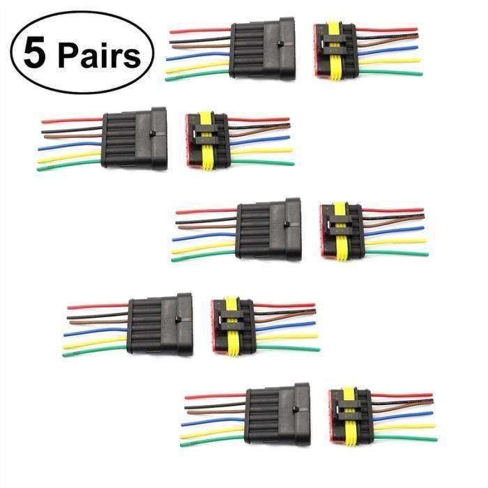JL 5 Paires 6 Broches Ip67 Étanche Cosses Fil Électrique Prises Avec Des Fils Kits pour Voitures Motos - JLCYD821BA1792