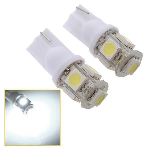2x T10 194 168 501 W5W 5 MeED 5050 SMD Ampoule Voiture Veilleuses Blanc 12V Me00189