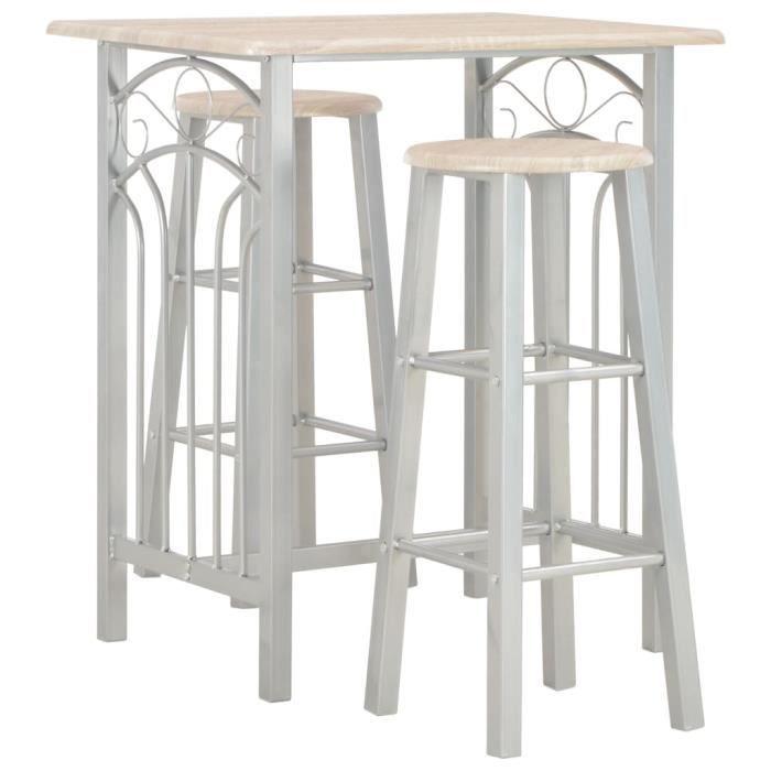 MAISON - Ensemble Table de bar + 2 tabourets bar Mange-Debout Ensemble repas de jardin Bois et acier Classique - 11071