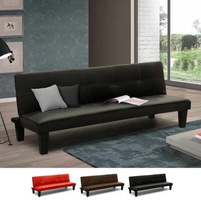 Canapé-lit convertible petit en simili-cuir 2 pièces Topazio Joy, Couleur: Noir