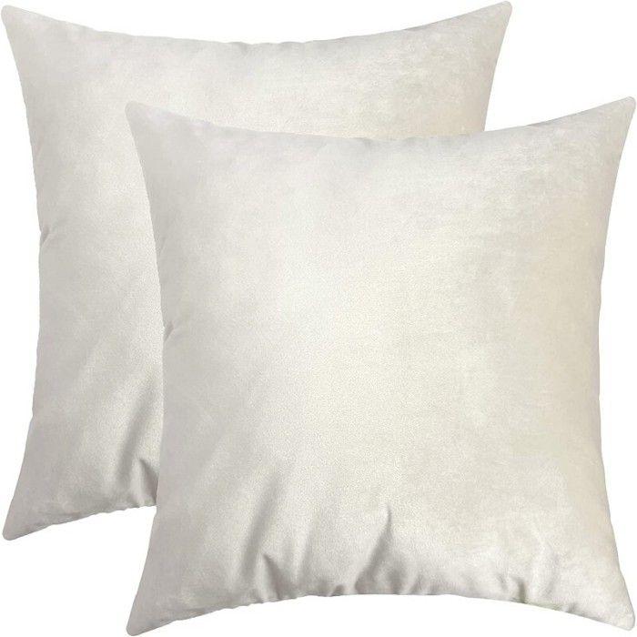 Wolka 2PCS Housse de Coussin, Fausse Fourrure Deluxe Décoratif Canapé Chambre 45 x 45cm Blanc