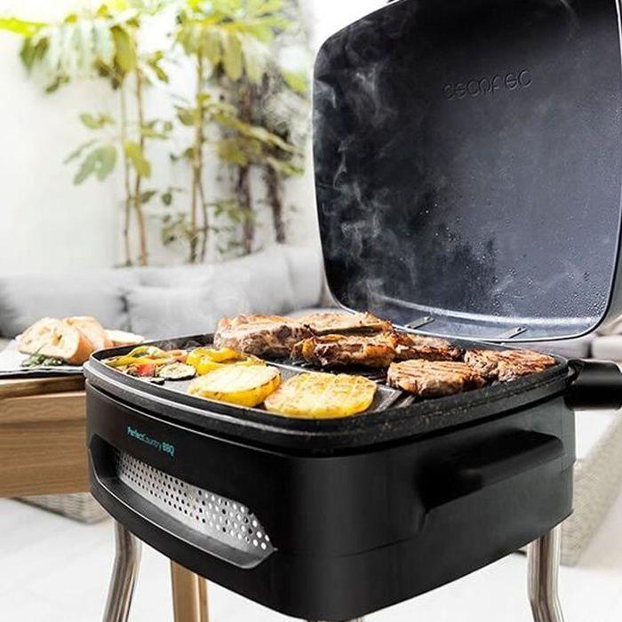 Barbecue Electrique sur Pied et de Table avec Couvercle et Plancha pour Intérieur et Extérieur Haut de gamme Noir