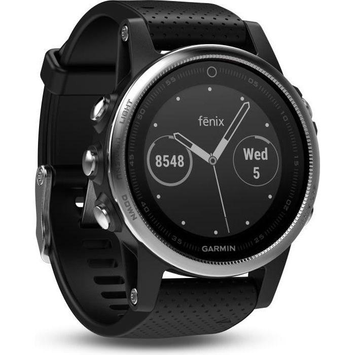 GARMIN Fenix 5S Silver Montre GPS - Gris argenté et noir