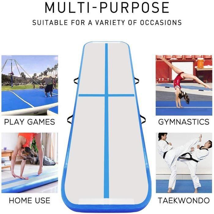 Airtrack Gymnastique 10cm Epaisseur, Tapis d'Entraînement 3M, Tapis Gonflable de Gymnase avec Pompe Electrique pour Gymnast Yoga
