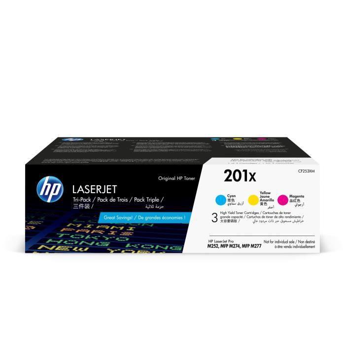 HP 201X pack 3 toners LaserJet cyan/magenta/jaune grande capacité authentiques (CF253XM) pour HP Color LaserJet Pro M252/M274/M277