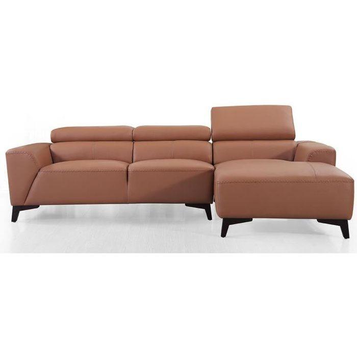 Canapé d'angle droit en cuir BLOUM - Cognac - Droit - Cognac