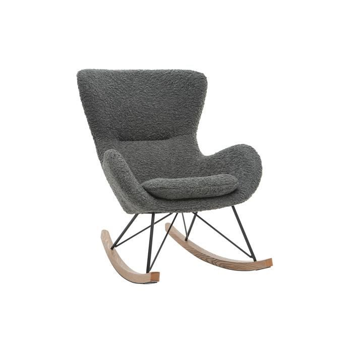 Miliboo - Rocking chair design tissu mouton gris ESKUA