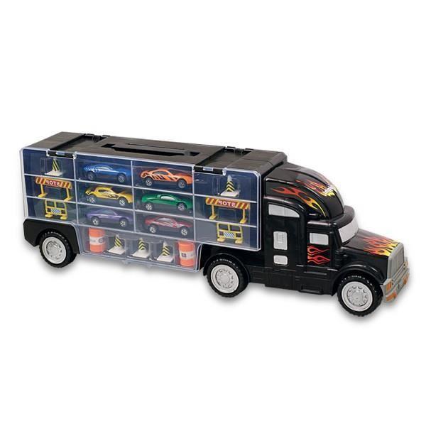 MOTOR & CO - Camion de transport noir avec 6 véhicules