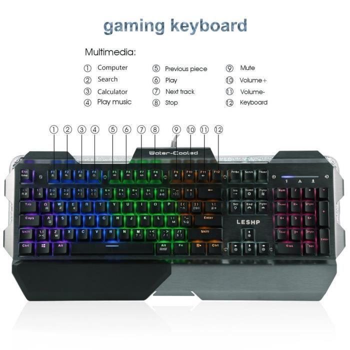 Gaming clavier Professionnel Gamer Clavier Led 7 couleurs panneau en aluminium Clavier francais
