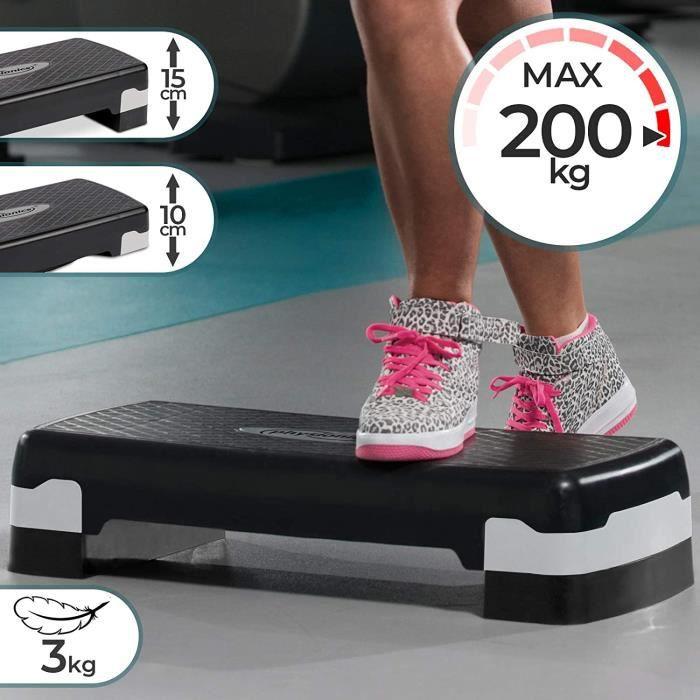 Physionics® Step d'Aérobic - Hauteur Réglable/2 Niveaux, Charge Max. 200kg - Stepper, Plateforme de Fitness, Gym, Yoga, Sport