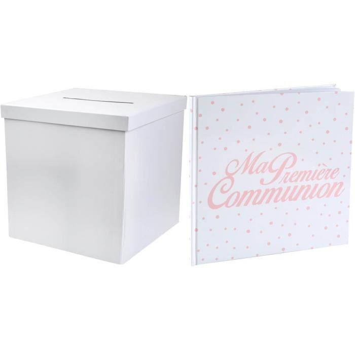 R/2911-6299- 1 Pack urne carrée et livre d'or Communion corail