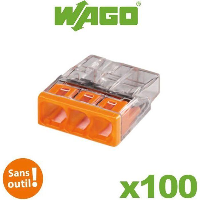 Pot de 100 mini bornes 3 fils S2273 WAGO