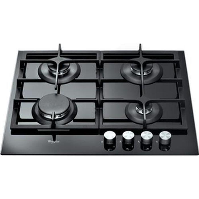 Whirlpool AKT 6455-NB, Intégré, Cuisinière à gaz, Verre, Noir, Rotatif, En haut devant
