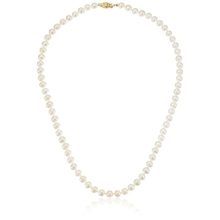 14k Yellow Gold White Freshwater Cultured Pearl Strand Necklace, 18 T280R