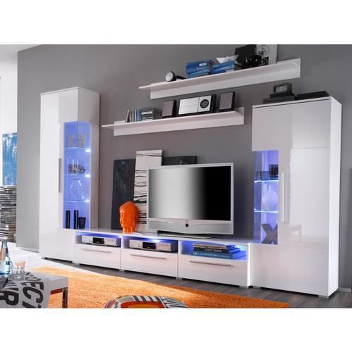 mur tv donna white achat vente meuble tv mur tv donna white cdiscount. Black Bedroom Furniture Sets. Home Design Ideas