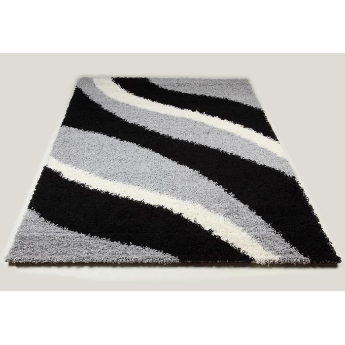 tapis shaggy noir et gris de salon vasco 8 l 120 x p 170 cm taille l 120 x p 170 cm achat. Black Bedroom Furniture Sets. Home Design Ideas
