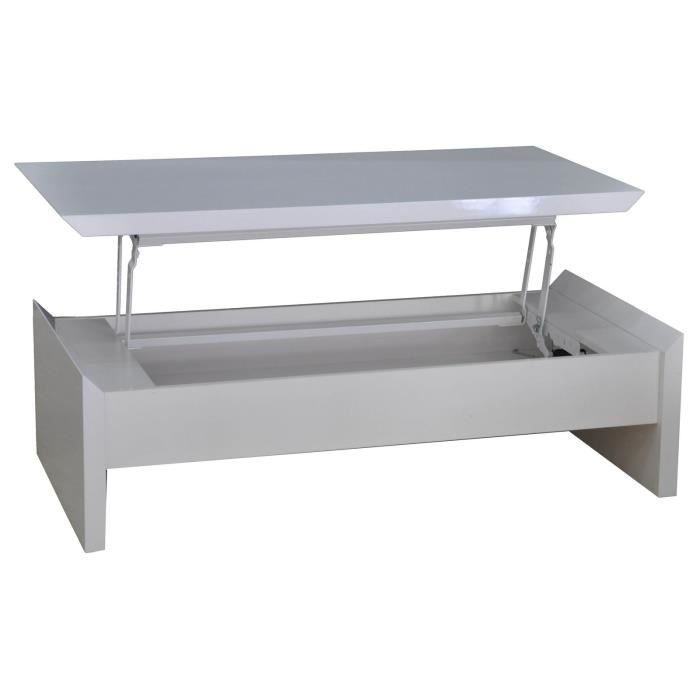 Table basse snack moderne blanche meuble house achat vente table basse t - Table basse blanche moderne ...