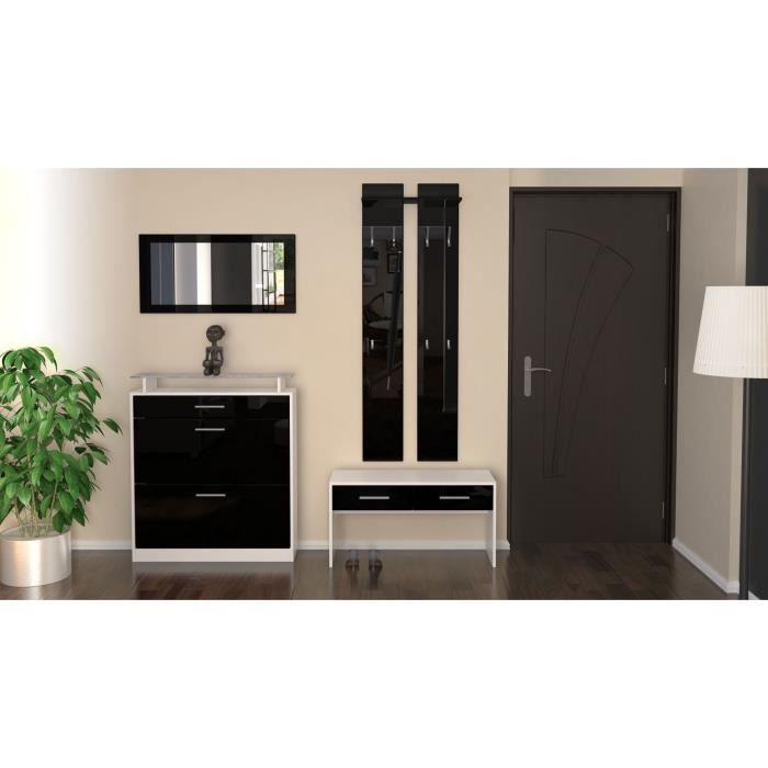 ensemble de meubles d 39 entr e blanc noir 89 cm achat vente meuble d 39 entr e ensemble de. Black Bedroom Furniture Sets. Home Design Ideas