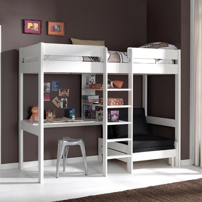 Lit mezzanine blanc avec bureau et fauteuil ZAO - Achat ...