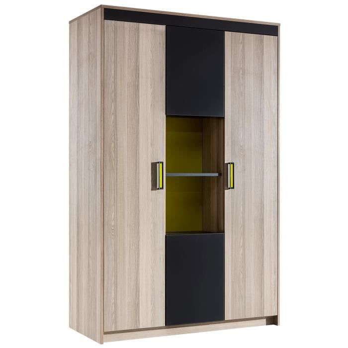 armoire ado 4 porte coloris bois noyer et gris anthracite achat vente armoire de chambre. Black Bedroom Furniture Sets. Home Design Ideas