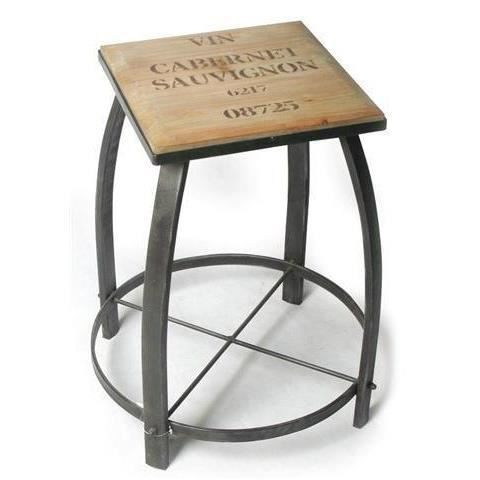 tabouret de bar vin cabernet bois metal 50x achat vente tabouret de bar bois m tal. Black Bedroom Furniture Sets. Home Design Ideas