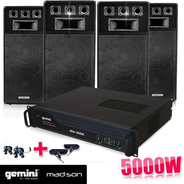 pack dj sono enceintes 4x600w ampli 5000w pack sono. Black Bedroom Furniture Sets. Home Design Ideas