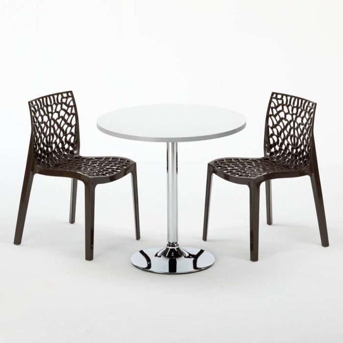 Table Ronde Et 2 Chaises Colorees Set Interieur Bar Cafe