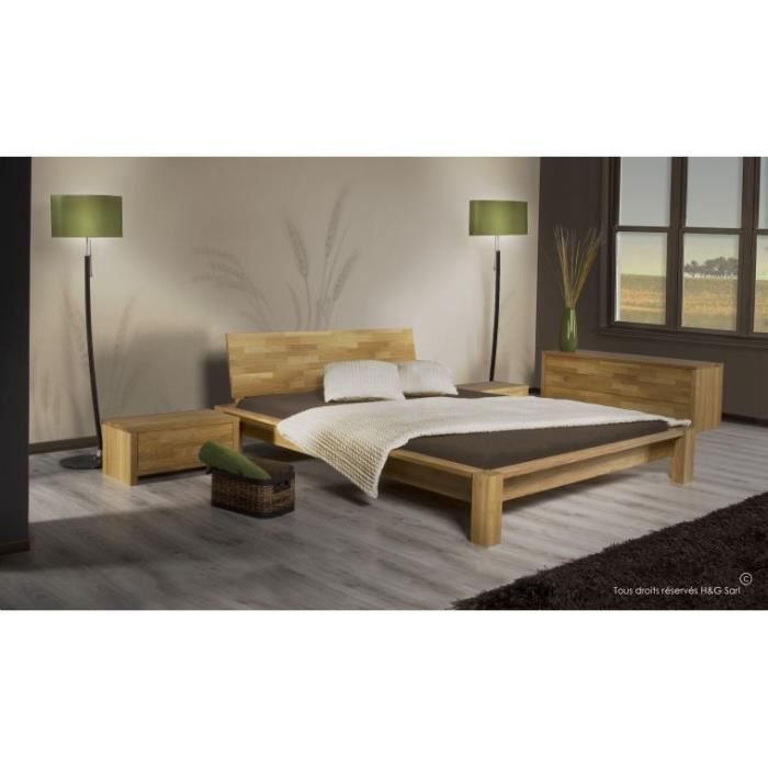 Pack lit complet en chene massif ontario 140x190 1 chevet achat vente cha - Lit complet 140 x 190 ...