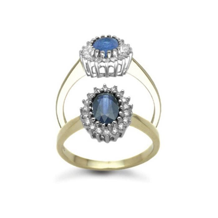 Jewelco London Or 9k Ovale Bleu Saphir et Diamant Classique Royal Grappe Bague