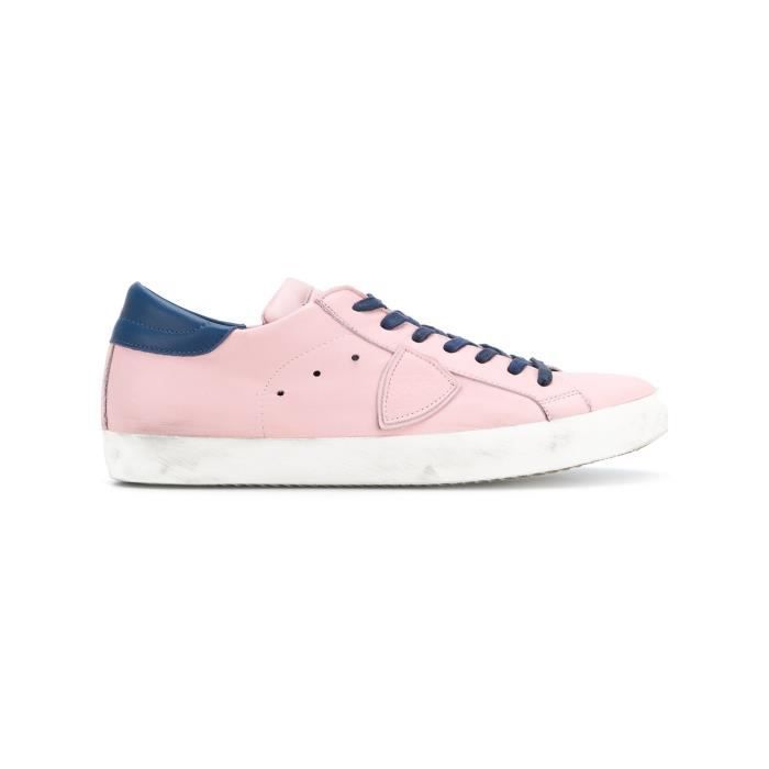 PHILIPPE MODEL HOMME CLLUV011 ROSE CUIR BASKETS