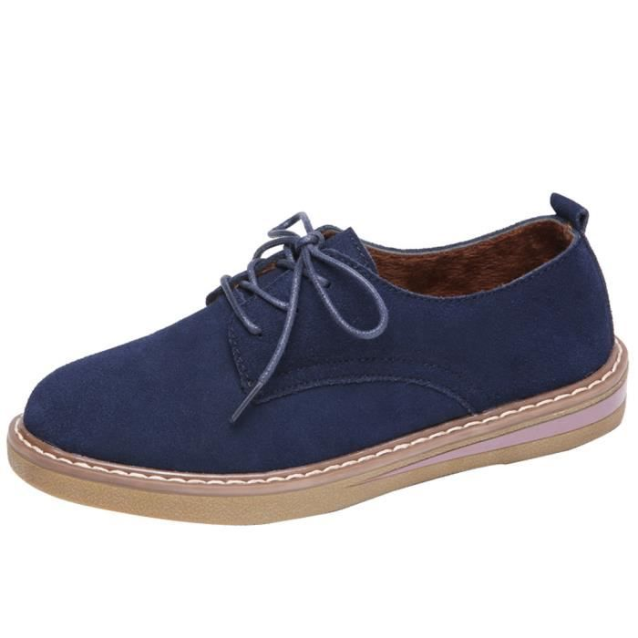 Shoes Flats Oxford Up Leather Femmes Suede Round Shoe 3319 uji Toe Bleu Lace Sneakers Boat H14xPnF