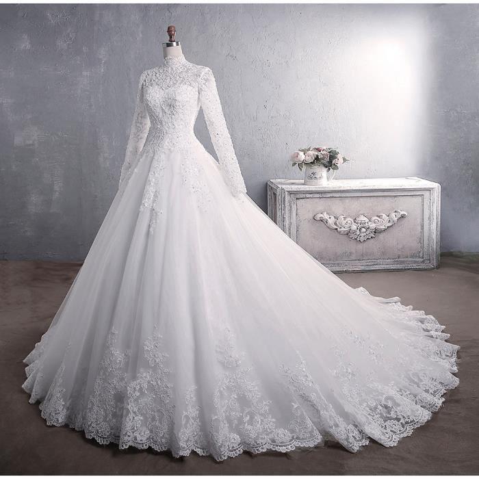 Robe De Mariee Musulmane Longues Manches Nouveau Hors De L Epaule Princesse Grande Queue Blanc Blanc Achat Vente Robe De Mariee Cdiscount