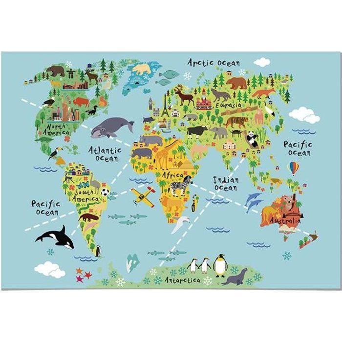 affiche carte du monde Panorama® Poster pour chambre de bébé ou d'enfant Carte du Monde