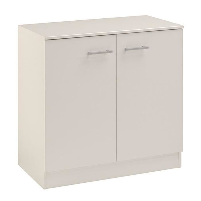 meuble de rangement bas blanc l 77 x p 40 x h 78 cm achat vente petit meuble rangement. Black Bedroom Furniture Sets. Home Design Ideas