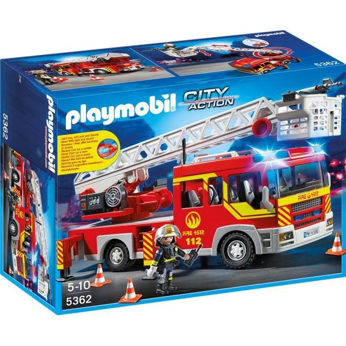 Photo de playmobil-5362-city-action-camion-de-pompiers-avec-echelle-et-sirene