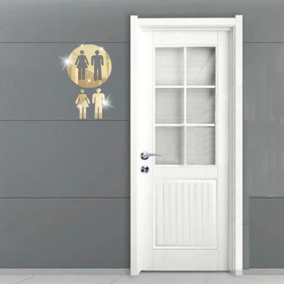 Deco Porte Salle De Bain 3d signe de toilettes miroir autocollant mural porte pr