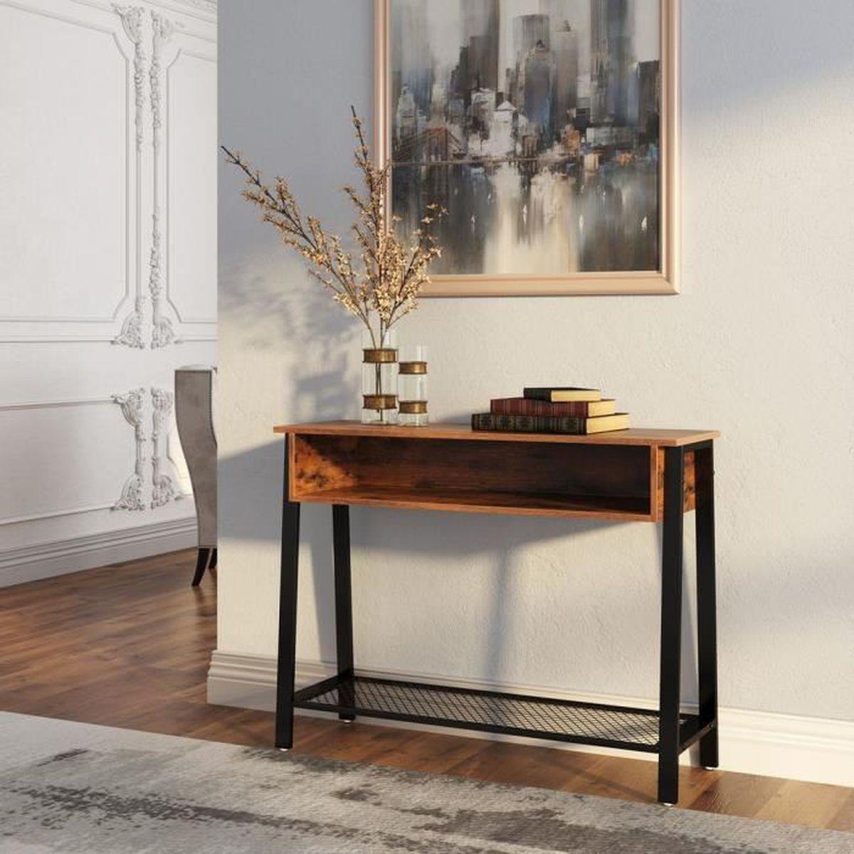Luminaire Pour Couloir D Entrée vasagle table d'entrée vintage, table de console, avec Étagère en treillis  et casier ouvert, pour couloir, salon, bureau, lnt93x