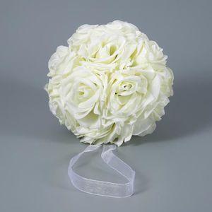 FLEUR ARTIFICIELLE BLANC 15cm Bouquet de Rose boule de mariage simula