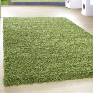 TAPIS Shaggy Shaggy Long pile Pas cher Green Tapis Salon