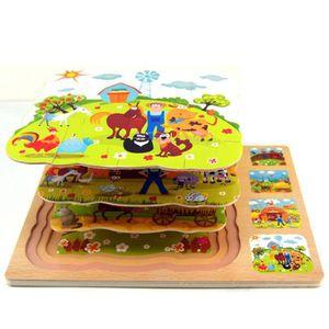 PUZZLE Puzzle de ferme en bois à quatre couches pour enfa