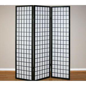 PARAVENT Paravent 3 panneaux en bois noir et papier riz 175