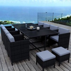 Ensemble table et chaise de jardin MUNGA 12 Places - Ensemble encastrable salon - tab