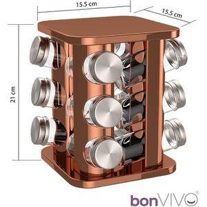 Support tournant en plastique multifonctionnel d/épice bo/îte de Masala de 12 pots finition en bois
