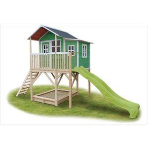 MAISONNETTE EXTÉRIEURE Maisonnette + bac à sable Loft 750 Vert