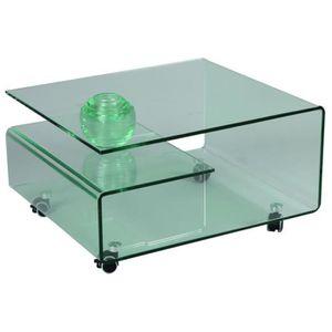 TABLE BASSE Table basse en verre, L.80 X l.70 X Ht.39.8 cm