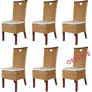 Chaises salle manger rotin achat vente chaises salle for Lot 6 chaises rotin