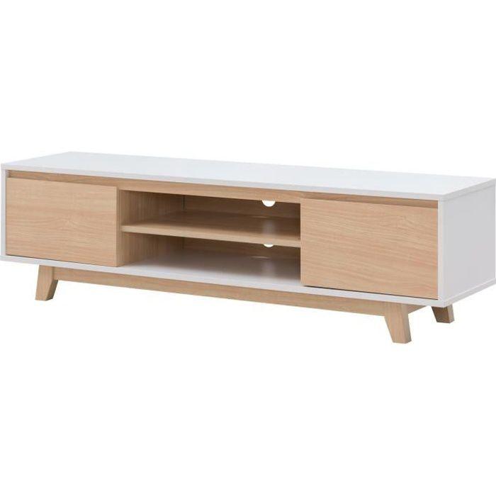 FJORD Meuble TV scandinave blanc et décor bois érable - L 160 cm