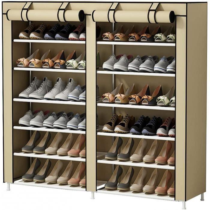 Taille: Doppelreihe Version: Beige Armoire-Meuble À Chaussures Avec Housse En Toile 7 Couche