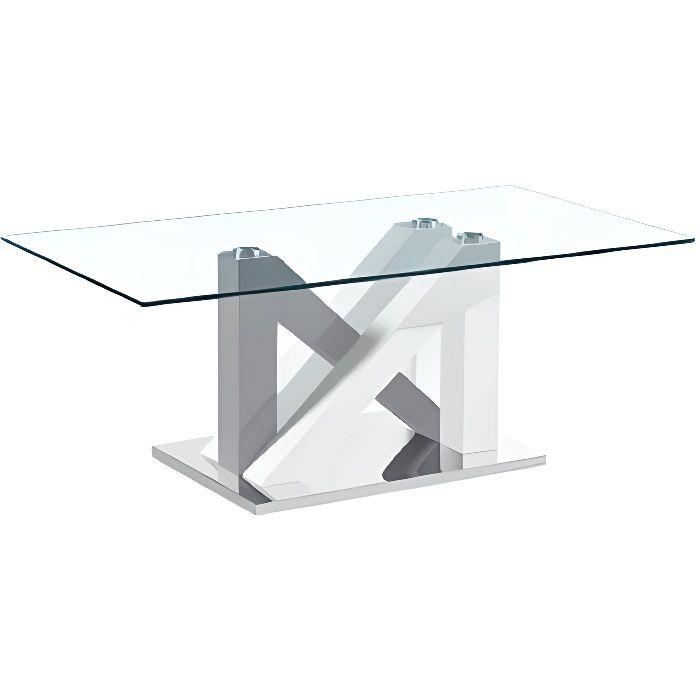 Table Basse Design MODERNA Laqué Blanc et Gris