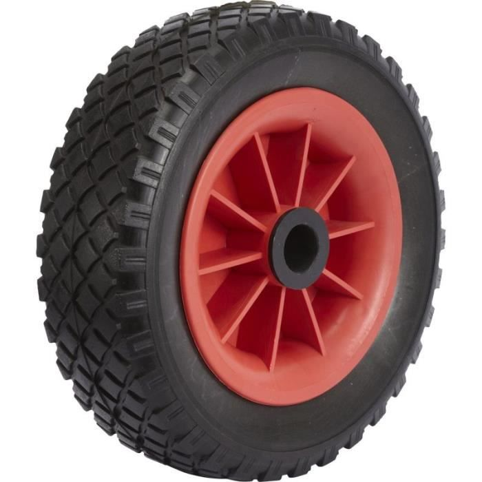 Roue increvable corps rouge 400 x 85 LM75 AL25 à rouleaux charge 180 Kg